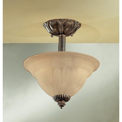 Yorkshire 2-Light Semi-Flush Mount Finish: English Bronze with Sandstone Glass