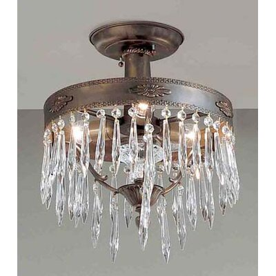 Duchess 3-Light Semi-Flush Mount Finish: Aged Bronze, Crystal Type: Italian