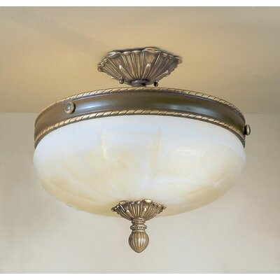 Alexandria II 4-Light Semi-Flush Mount Finish: Satin Bronze with Brown Patina, Crystal Type: Without Crystal