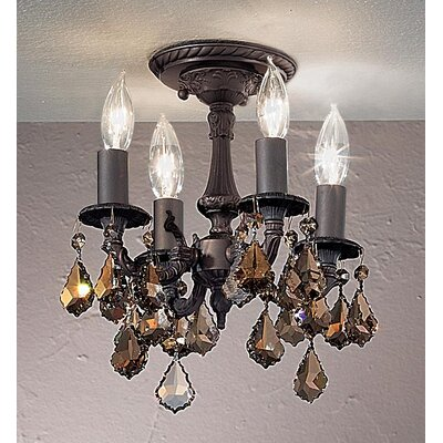 Majestic 4-Light Semi-Flush Mount Finish: Aged Bronze, Crystal Type: Swarovski Elements Golden Teak