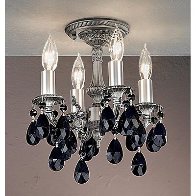Majestic 4-Light Semi-Flush Mount Crystal Type: Crystalique Black, Finish: Aged Pewter