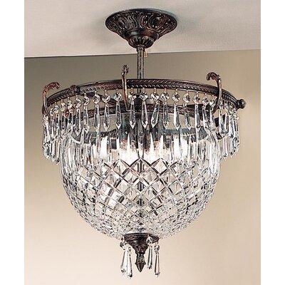 Waterbury 3 Light Semi-Flush Mount Crystal Color: Crystalique Black