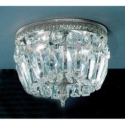 Crystal Baskets Light Semi-Flush Mount Crystal Type: Swarovski Spectra, Finish: Olde World Bronze, Size: 8 H x 12 W x 12 D