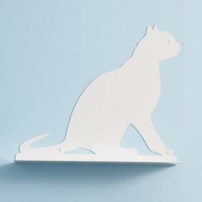 23 Cat Silhouette Gaze Cat Shelf Color: White