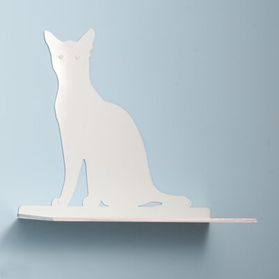 23 Cat Silhouette Cat Shelf Perch Color: White
