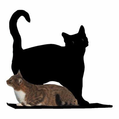 The Refined Feline Cat Silhouette Prance Cat Shelf - Color: Black