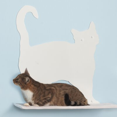 23 Cat Silhouette Prance Cat Shelf Color: White