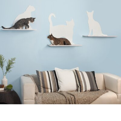 Cat Silhouette Cat Shelves 3 Piece Set Black