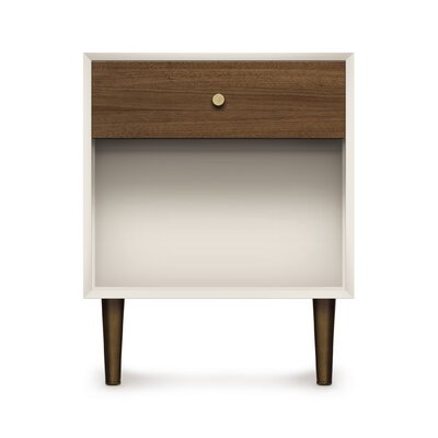Mimo 1 Drawer Nightstand Leg Finish: Nickel