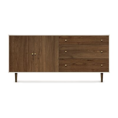 Mimo 3 Drawer Dresser Leg Finish: Bronze, Orientation of Drawers: Left