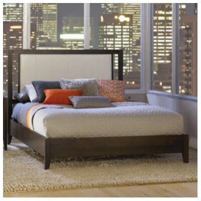 Dominion Upholstered Platform Bed Upholstery: White, Size: Queen, Finish: Natural Cherry