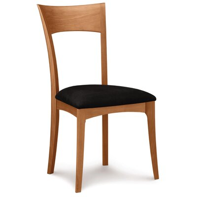 Ingrid Side Chair Frame Color: Smoke Cherry, Upholstery Color: Ebony Leather