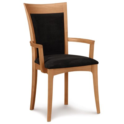 Morgan Genuine Leather Upholstered Dining Chair Leg Color: Natural Cherry, Upholstery Color: White