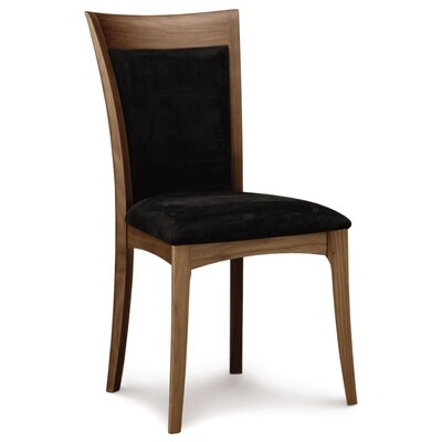 Morgan Genuine Leather Upholstered Dining Chair Leg Color: Natural Walnut, Upholstery Color: Ebony