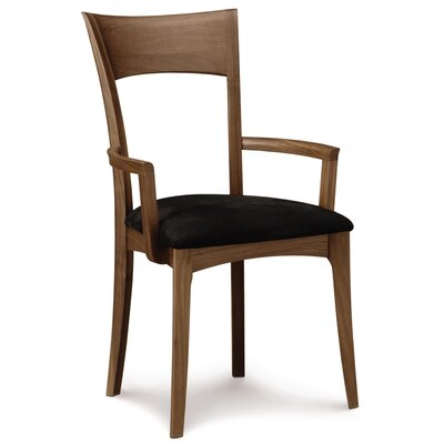 Ingrid Genuine Leather Upholstered Dining Chair Leg Color: Natural Walnut, Upholstery Color: Ebony