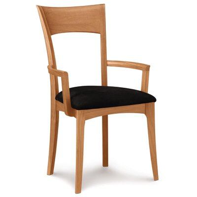 Ingrid Genuine Leather Upholstered Dining Chair Leg Color: Natural Cherry, Upholstery Color: White