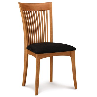 Furniture-Sarah Dining Side Chair Upholstery Leather Ebony, Finish Autumn Cherry