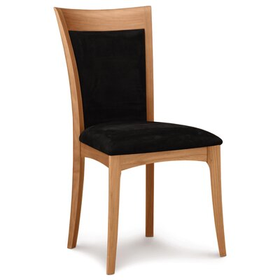 Morgan Genuine Leather Upholstered Dining Chair Leg Color: Natural Cherry, Upholstery Color: Ebony