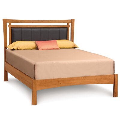 Monterey Upholstered Platform Bed Upholstery: Coffee, Size: Full, Finish: Saddle Cherry
