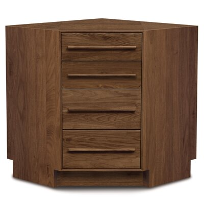 Furniture-Moduluxe 4 Drawer Corner Chest Finish Natural Walnut, Top Coat Finish Conventional