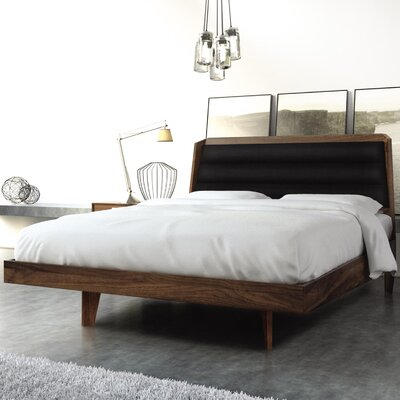 Canto Upholstered Platform Bed Size: Queen, Frame Color: Natural Walnut, Headboard Color: Dark Brown Microsuede