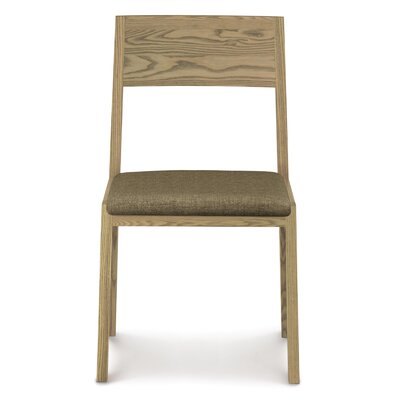 Kyoto Upholstered Dining Chair Leg Color: Weathered Ash, Upholstery Color: Microseude Dark Brown