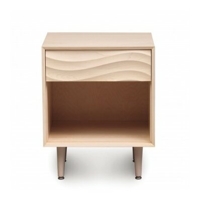 Wave 1 Drawer Nightstand Color: Natural Walnut, Frame Material: Metal