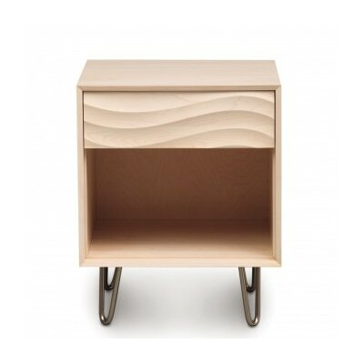 Wave 1 Drawer Nightstand Finish: Natural Maple, Frame Material: Metal