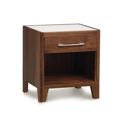 Contour 1 Drawer Nightstand Color: Weathered Ash, Top Material: Glass, Base Material: Solid Ashwood