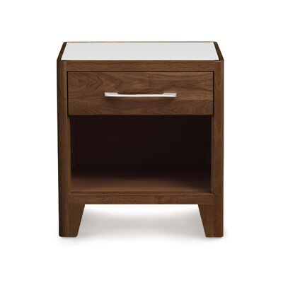 Contour 1 Drawer Nightstand Top Material: Glass, Base Material: Solid Ashwood, Finish: Taupe Ash
