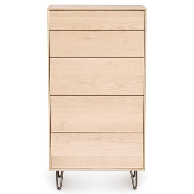 Canvas 5 Drawer Chest Drawer Handle Design: Knob, Leg Material: Metal, Color: Natural Walnut