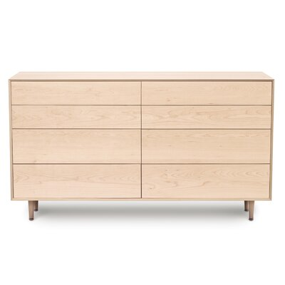 Canvas 8 Drawer Double Dresser Color: Natural Maple, Drawer Handle Design: No Knob, Leg Material: Wood