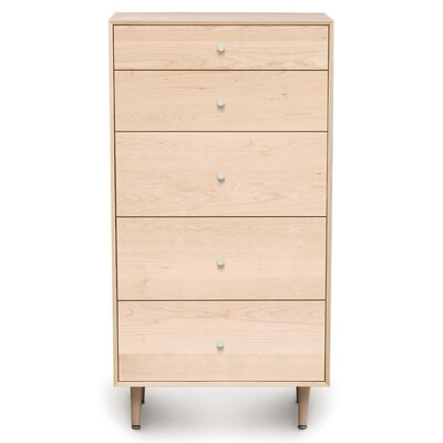 Canvas 5 Drawer Chest Color: Natural Maple, Drawer Handle Design: Knob, Leg Material: Wood