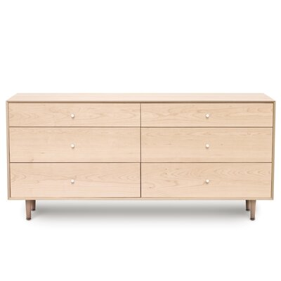 Canvas 6 Drawer Dresser Finish: Natural Maple, Drawer Handle Design: Knob, Leg Material: Wood