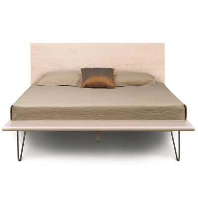 Canvas Platform Bed Size: King, Color: Bright White Maple, Leg Material: Metal