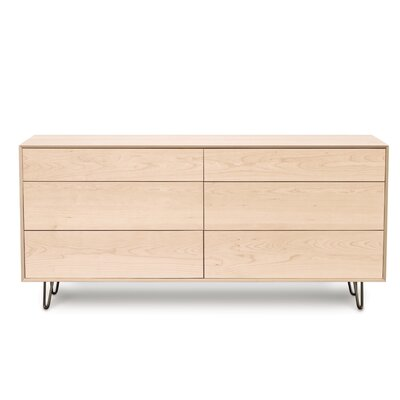 Canvas 6 Drawer Double Dresser Color: Natural Maple, Leg Material: Metal, Drawer Handle Design: Push