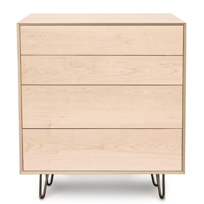 Canvas 4 Drawer Chest Finish: Parchment Maple, Leg Material: Metal, Drawer Handle Design: Push