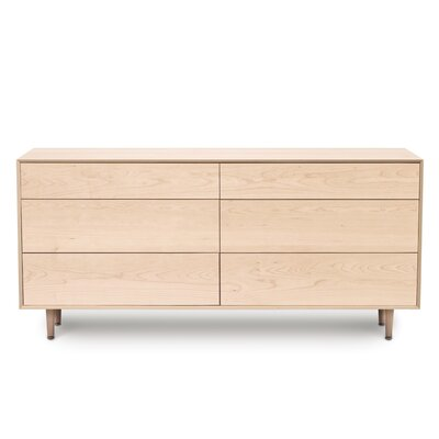 Canvas 6 Drawer Double Dresser Color: Natural Maple, Drawer Handle Design: Push, Leg Material: Wood