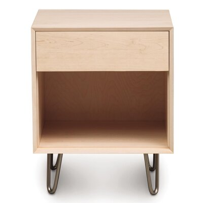 Canvas 1 Drawer Nightstand Finish: Dark Chocolate Maple, Drawer Handle Design: Knob, Leg Material: Metal