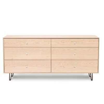 Canvas 6 Drawer Double Dresser Color: Bright White Maple, Leg Material: Metal, Drawer Handle Design: Push