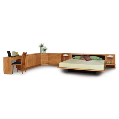 Moduluxe Upholstered Platform Bed Size: King, Frame Color: Parchment Maple, Headboard Color: White Leather