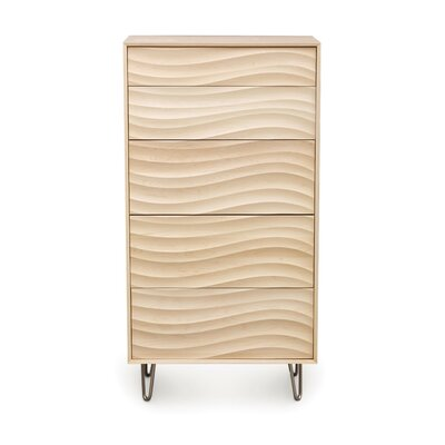 Wave 5 Drawer Chest Finish: Parchment Maple, Leg Material: Metal