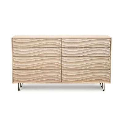 Wave 8 Drawer Dresser Finish: Parchment Maple, Leg Material: Metal