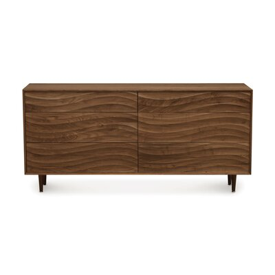 Wave 6 Drawer Dresser Color: Natural Walnut, Leg Material: Wood