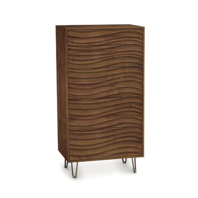 Wave 5 Drawer Chest with Metal Legs Frame Color: Natural Walnut