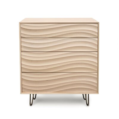 Wave 4 Drawer Chest Color: Parchment Maple, Leg Material: Metal