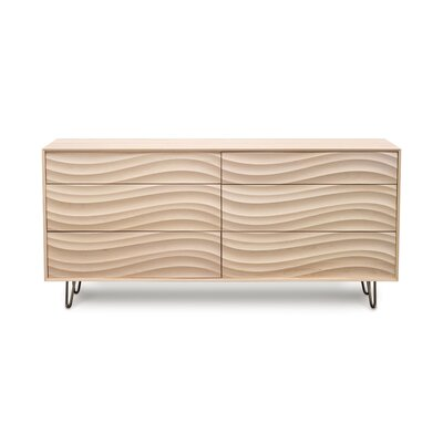 Wave 6 Drawer Dresser Color: Parchment Maple, Leg Material: Metal