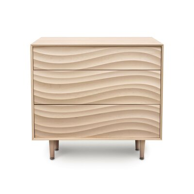 Wave 3 Drawer Dresser Color: Parchment Maple, Frame Material: Wood