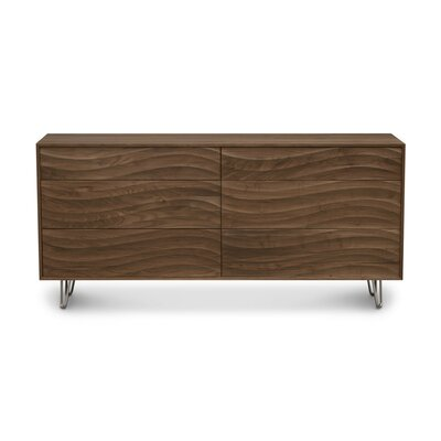Wave 6 Drawer Dresser Color: Natural Walnut, Leg Material: Metal