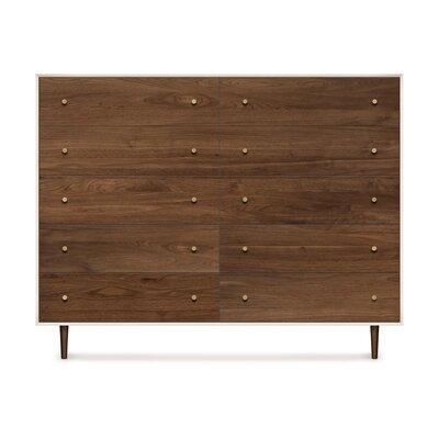 Mimo 10 Drawer Double Dresser Leg Color: Nickel